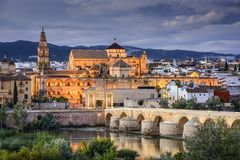 Cordoba, Spain at the Roman Bridge and Town Skyline. On the Guadalquivir River stock image
