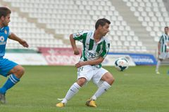 CORDOBA, SPAIN - SEPTEMBER 29:  Carlos Caballero W(21) in action during match league Cordoba (W) vs Girona (B)(2-0) Royalty Free Stock Photo