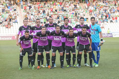 CORDOBA, SPANIEN - 18. AUGUST: Anfangsausrichtung Ponferradina während der Matchliga Cordoba (W) gegen Ponferradina (b) (1-0) Stockbild