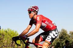 CORDOBA, SPANIEN - 26. August 2014: Vegard Breen (Lotto Belisol) den letzten Hafen des 4. Stadiums von La Vuelta führend stockfotos