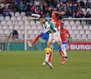 CORDOBA SPANIEN - JANUARI 13: Vincenzo Rennella W (12) i handling under matchligan Cordoba (W) vs Numancia (R) (1-0) på det kommun Royaltyfria Foton
