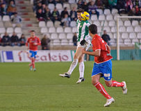 CORDOBA SPANIEN - JANUARI 13: Vincenzo Rennella W (12) i handling under matchligan Cordoba (W) vs Numancia (R) (1-0) på det kommun Royaltyfria Bilder