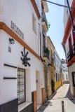 Cordoba Spanien - Juni 20: De tomma gatorna av Cordoba på Juni Arkivfoton