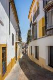 Cordoba Spanien - Juni 20: De tomma gatorna av Cordoba på Juni Royaltyfria Foton
