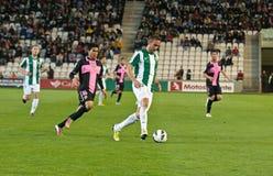 CORDOBA SPANIEN - MARS 30: Alberto Aguilar W (20) i handling under matchligan Cordoba (W) vs Sabadell (B) (3-0) arkivbilder