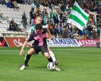 CORDOBA SPANIEN - MARS 30: Eneko Fernandez B (11) i handling under matchligan Cordoba (W) vs Sabadell (B) (3-0) på det kommunala s Royaltyfria Bilder