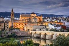 Cordoba Spanien på den Roman Bridge och stadhorisonten fotografering för bildbyråer