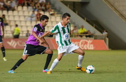 CORDOBA, SPANJE - AUGUSTUS 18:  Carlos Caballero W (21) in actie tijdens gelijkeliga Cordoba (w) versus Ponferradina (b) (1-0) Royalty-vrije Stock Foto's
