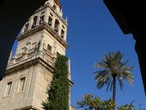 Cordoba, Spanje, 01/02/2007 Klokketoren van de moskee-kathedraal royalty-vrije stock foto