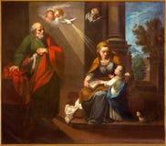Cordoba - The st. Joachim, little Virgin Mary and st. Ann in church Convento de Capuchinos Stock Image