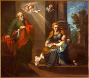 Cordoba - sten Joachim, lilla jungfruliga Mary och St Ann i kyrkliga Convento de Capuchinos Fotografering för Bildbyråer