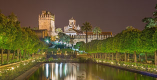 Cordoba - trädgårdarna av slotten för Alcazarde los Reyes Cristianos på natten Royaltyfri Fotografi