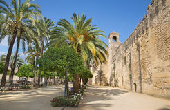 Cordoba - walls of palace Alcazar de los Reyes Cristianos. Royalty Free Stock Photo