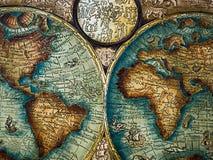 Cordoban leatherwork style. Antique world map Royalty Free Stock Images