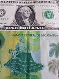 10 cordobas尼加拉瓜的钞票和美国美元钞票、背景和纹理 免版税库存图片