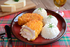 Cordon bleu com arroz Imagem de Stock Royalty Free
