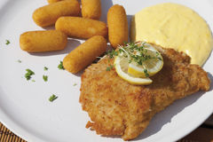 Cordon bleu with croquettes and sauce hollandaise, close up Stock Photography