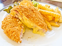 Cordon bleu with french fries Royalty Free Stock Image