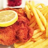 Cordon bleu with french fries Stock Image