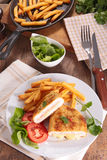 Cordon bleu and french fries Royalty Free Stock Images