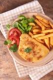 Cordon bleu with fries Royalty Free Stock Photo
