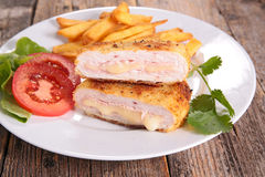 Cordon bleu with fries Stock Image