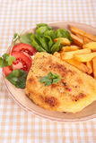Cordon bleu with fries Royalty Free Stock Images