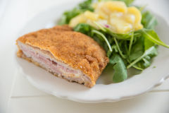 Cordon bleu with green salad Stock Images