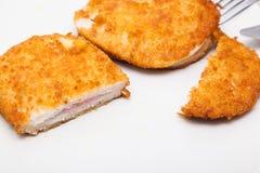 Cordon bleu mit Reis Stockfoto