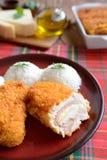 Cordon bleu mit Reis Lizenzfreies Stockfoto