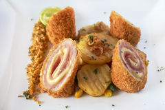 Delicious traditional French food Cordon Bleu ham and cheese Royalty Free Stock Image