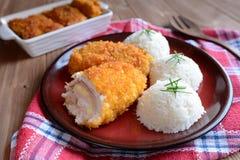 Cordon bleu with rice Stock Photo