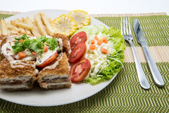 Cordon bleu with vegetables Stock Image