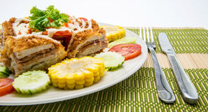 Cordon bleu with vegetables Royalty Free Stock Images