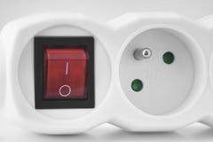 Cordon d'extension électrique Prise blanche de prise avec le commutateur Photo libre de droits