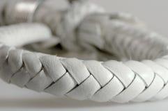 Cordon d'un cuir blanc Image libre de droits
