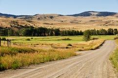 Cordon de ranch le long d'une route de gravier Images libres de droits