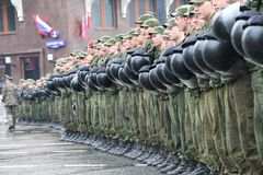 Cordon of police and the soldier of internal troops in front of the Kremlin during procession of communists Stock Photography