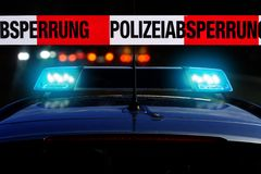 """Free Cordon Tape With The Word """"Polizeiabsperrung"""", The German Word For Police Cordon Royalty Free Stock Images - 160893929"""