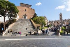 Cordonata moment i Rome på den Capitoline kullen Arkivfoton