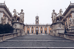 Cordonata staircase and white statues of Castor and Pollux in Pi royalty free stock photo