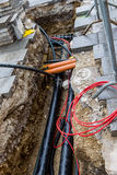 Cordoned bike. A bicycle was taken firmly to prevent the theft on a pole. bicycle lock against theft lock Stock Photography