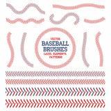 Cordones del béisbol fijados Cepillos de la costura del béisbol Puntadas rojas y azules ilustración del vector