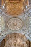Cordoue - coupole de la chapelle principale avec la chambre forte gothique et baroque Photo stock