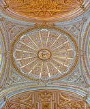 Cordoue - coupole de la chapelle principale de la cathédrale par Juan de Ochoa de 16 cent avec la chambre forte gothique et baroq Photo libre de droits