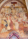 Cordoue - le fresque médiéval de la crucifixion dans l'abside principale de l'église Iglesia De San Lorenzo Image stock