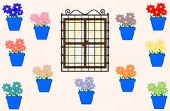 Cordova ed i vasi con i fiori variopinti Immagini Stock
