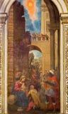 Cordova - l'adorazione dell'affresco del Re Magi in chiesa Iglesia de San Agustin da Cristobal Vela (1588-1654) Fotografia Stock