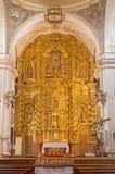 Cordova - l'altare principale scolpito in chiesa del monastero di St Ann e di stJoseph (Convento de Santa Ana y San José) Fotografia Stock