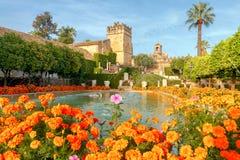 Cordova. Royal palace of the cristian kings. Flowering gardens and fountains of the Alcazar de los Reyes Cristianos, Cristian royal palace of the Kings, Cordoba Royalty Free Stock Photos